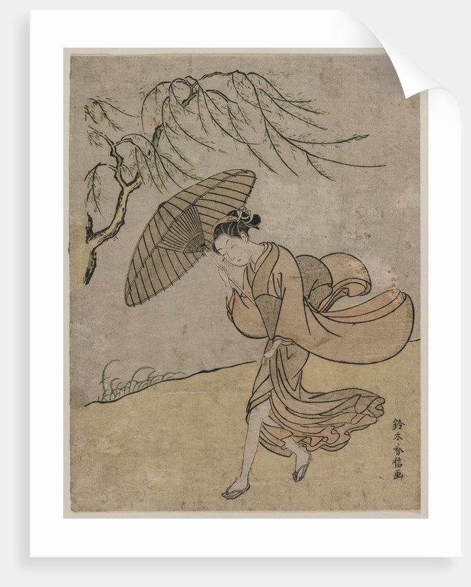 Woman Running Past a Willow Tree in a Breeze, 1766 or 1767 by Suzuki Harunobu