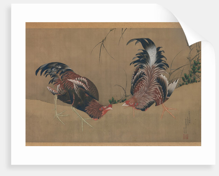 Gamecocks, dated 1838 by Hokusai