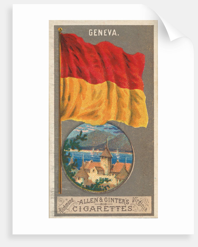 Geneva, from the City Flags series for Allen & Ginter Cigarettes Brands, 1887 by Allen & Ginter