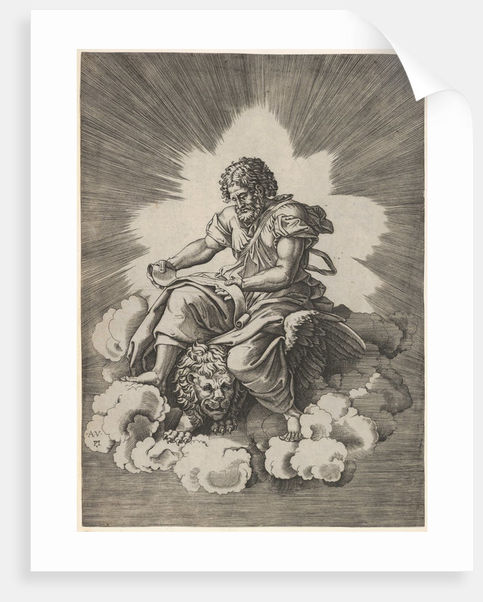 St. Mark, seated with an unfurled scroll in his hands, a winged lion's head and fore…, after 1518 by Unknown