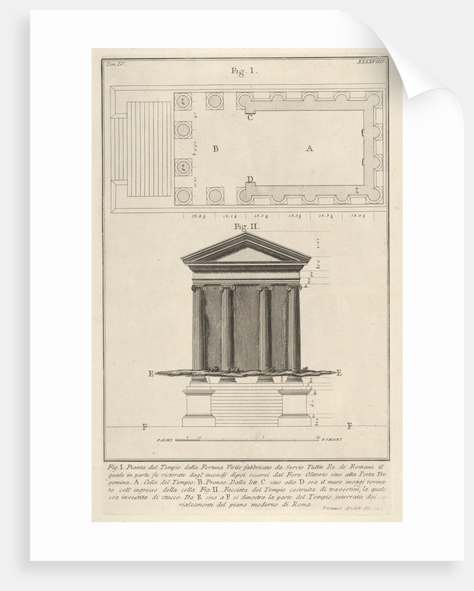 Plan and facade of the Temple of Fortuna Virilis, from the s…, 1756 by Giovanni Battista Piranesi