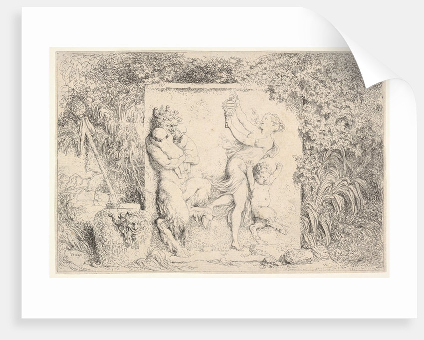 A bas-relief depicting a satyr at left holding two infants, another child satyr to right…, 1763 by Jean-Honore Fragonard