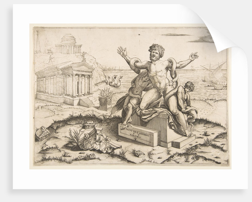 Laocoön and his two sons being attacked by serpents upon a pedestal, a temple to Mi…, ca. 1515-27 by Marco Dente