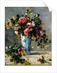 Roses and Jasmine in a Delft Vase by Pierre-Auguste Renoir