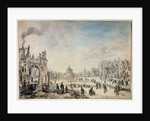 Winter Landscape with Skaters, Dutch painting of 17th century by Aert van der Neer