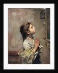 Praying Girl, Italian painting of 19th century. by Roberto Ferruzzi