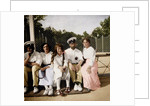 Tsar Nicholas II of Russia with his daughters on the tennis court by Anonymous