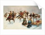 Winter landscape with Cossacks by Adolf Baumgartner-Stoiloff