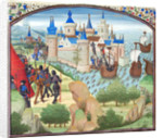The capture of Constantinople by land and sea in 1204. Miniature from the Historia by William of Tyre by Anonymous