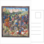 Battle between Crusaders under Baldwin II of Jerusalem and the Saracens. Miniature from the Historia by William of Tyre by Anonymous