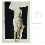 Proportion study of female nude with a shield, 1500 by Albrecht Dürer