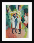 Three girls in yellow straw hats I, 1913 by August Macke