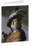 Bust of a man in a gorget and a feathered beret by Rembrandt (Rembrandt van Rijn)