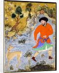 Man with a Saluki by Iranian Master