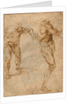 Two Nude Studies of a Man Storming Forward and Another Turning to the Right, c. 1504 by Michelangelo Buonarroti