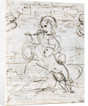 Reading Madonna and Child in a Landscape betweem two Cherub Heads by Raphael