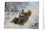 Children on a horse drawn sleigh by Anonymous