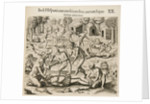 Because the Spanish thirst for gold, the Indians pour liquid gold into them. by Theodor de Bry