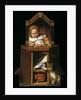 Sleeping baby in highchair by Johannes Cornelisz. Verspronck