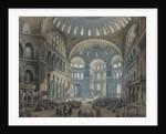 Interior of the Hagia Sophia in Constantinople by Carlo Bossoli
