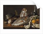 Still Life With Bream, Oranges, Garlic and Kitchen Utensils, 1772 by Luis Egidio Meléndez