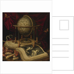 Vanitas Still Life with a Terrestrial Globe, a Book, Shells, a Snake and Butterflies by Carstian Luyckx