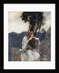 Brünnhilde kisses the ring that Siegfried has left with her. Illustration for Siegfried and The Twi by Arthur Rackham