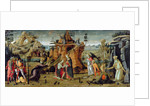 Landscape with biblical scenes and legends of the saints by Jacopo del Sellaio