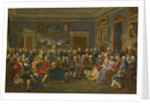 A reading of Voltaires tragedy LOrpheline de la Chine in the salon of Madame Geoffrin by Anicet Charles Gabriel Lemonnier