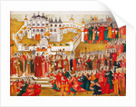 A crowd at the Hypatian Monastery imploring Mikhail Romanovs mother to let him go to Moscow and bec by Artamon Sergeevich Matveyev