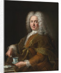 Portrait of a gentleman holding a cup of chocolate by Alexis Simon Belle