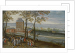 An extensive landscape with a view of the castle of Mariemont, a procession with the archduke Albrec by Anonymous