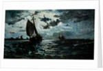 Sailing Ship in the Moonlight by Anonymous