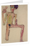 Kneeling Nude with Raised Hands (Self-Portrait) by Anonymous