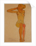 Seated Female Nude with Raised Arm (Gertrude Schiele) by Anonymous