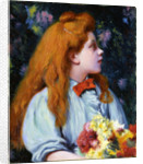 Girl with flowers by Anonymous