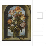tulips, moss-roses, lily-of-the-valley and other flowers in a glass beaker set in an arched stone wi by Anonymous
