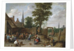 A village inn with peasants dancing and merry making to the music of a hurdy-gurdy by Anonymous