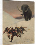 The Flight Before the Mammoth, 1885 by Anonymous