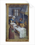 The maids. Miniature from Livre dheures , Late 15th cen by Anonymous
