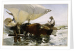 Return from Fishing: Towing the Bark, c. 1895 by Anonymous