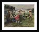 Hungry years in Petrograd. Changing merchandise for provisions in a village near a railway station by Anonymous