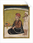 Noble seated on an outdoor parapet worshiping a shrine of Krishna fluting, c. 1800 by Unknown