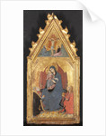 Virgin and Child Adored by Saints Mary Magdalene and Nicolas of Bari; Christ Crucified…, 1400s by Sano di Pietro
