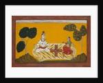 Shiva and Parvati Playing Chaupar: Folio from a Rasamanjari Series, dated 1694-95 by Devidasa of Nurpur