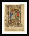 Manuscript Leaf from a Book of Hours… Illuminated Initial D and Christ Bearing the Cross, 1390-140 by Unknown