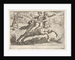 Nessus attempting to take Dejanira from Hercules: Nessus restrains Dejanira on his back wh…, 1608 by Antonio Tempesta