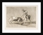 Plate 11 from the 'Tauromaquia': The Cid campeador spearing another bull., 1816 by Francisco Goya
