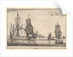 Large Sailing Vessel and Rowing Boat, 17th century by Reinier Zeeman