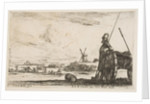 Plate 5: A Pikeman standing at right next to a cannon, other military figures…, ca. 1641 by Stefano della Bella